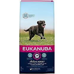 Eukanuba Adult Hundefutter für große Rassen mit neuer und verbesserter Rezeptur – Trockenfutter für Hunde im Alter von 18 Monaten - 6 Jahren in der Geschmacksrichtung Huhn – 1 x 15kg Beutel
