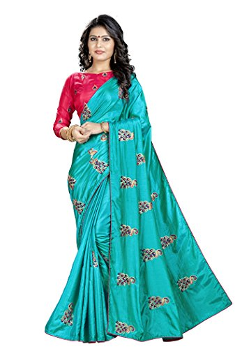 Blissta Teal Silk Embroidered Saree With Contrast Blouse