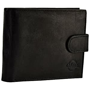Vbees London Pure Black Leather /Loop Button Classy & Stylish Men's Wallet