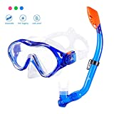 Kids Children Snorkel Set Dive Mask Full Dry Snorkel Tempered Glass Diving Set