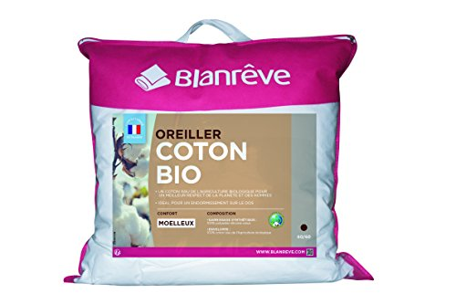blanrêve ORBIOHP006060 Oreiller Coton Bio, Blanc, 60 x 60