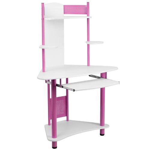 Flash Furniture Corner Computer Desk with Hutch, Metal, White Laminate Top/Pink Frame, 109.22 x 69.849999999999994 x 13.97 cm