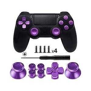 TOMSIN Metalltasten für DualShock 4, Aluminium Metall Daumensticks Analoggriff & Bullet-Tasten & D-Pad für PS4 Controller