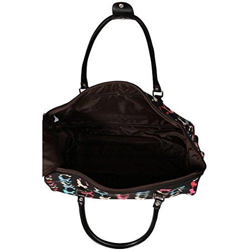 LeahWard® Reisetasche Schmetterling Gepäck Reisetaschen Damen Handtasche Gepäck Wochenende Taschen (L.GREY DOT Reisetasche) Schwarz POODLE