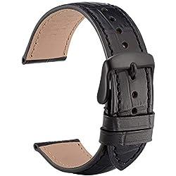 WOCCI 22mm Correa de Reloj de Cuero Repujado con Hebilla Negro, Correa de Repuesto (Negro)