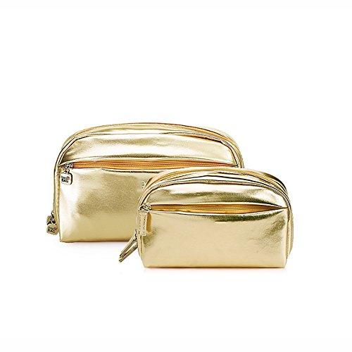 Toiletry Bag CAICOLOR Washbag Set bunte Mode Mädchen kurze Reise Urlaub Festival Kulturbeutel für Make-up Taschen Badezimmer 2 Größen (Farbe : Gold) (Leicht Gefüttert-gepäck-set)