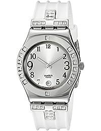 Swatch - Reloj de mujer de cuarzo, correa de piel color blanco