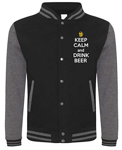 Fashwork felpa college keep calm and drink beer - beer - birra - humor - idea regalo - in cotone