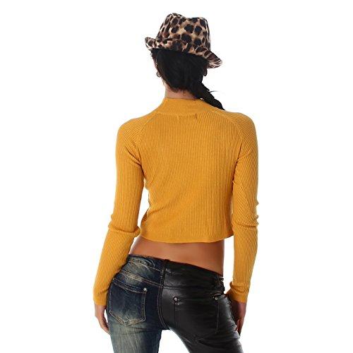 Jela London Damen Pullover Sweat Pulli Bauchfrei Shirt Feinstrick Rollkragen-Ausschnitt Feinripp Langarm Gelb