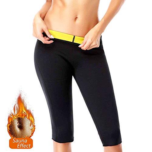 NOVECASA Sauna Shorts Damen Neopren Hosen Kurz Fitness Yoga zum Schwitzen Fettverbrennung Bauch Slimmerbelt Abmagerung (4XL, Schwarz-Gelb)