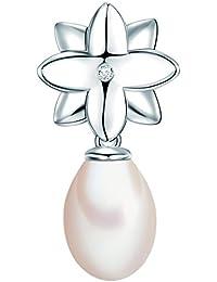 Valero Pearls - Pendentif - Perles de culture d'eau douce - Argent sterling 925 - Bijoux de perles diamant, pendentif diamant, bijoux en argent, bijoux en diamant - 60020014