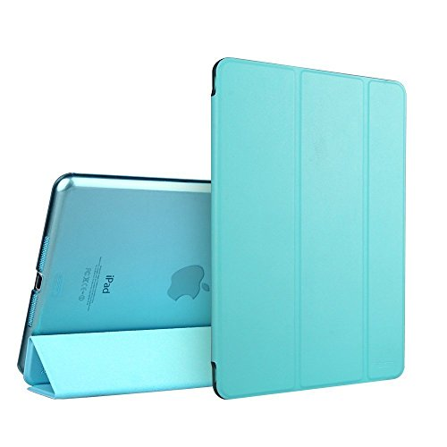 iPad Air 2 Case - E LV iPad Air 2 Case Cover Full Body Protection Trifold PU LEATHER Smart Case Cover for APPLE iPad Air 2 with 1 Screen Protector, 1 Stylus and 1 Microfiber Digital Cleaner - BLUE