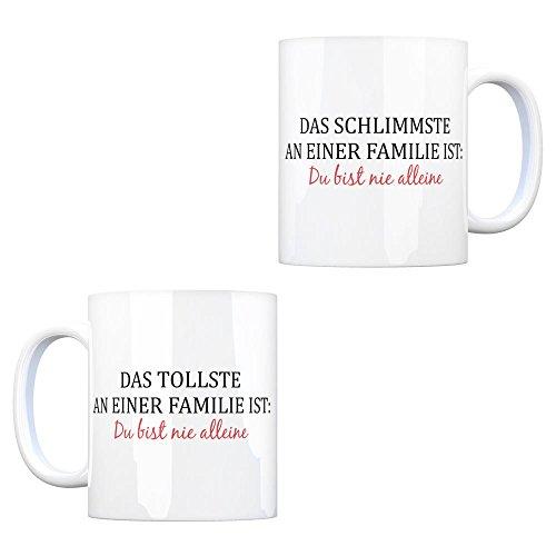 trendaffe - Kaffeebecher mit Spruch: Das tollste/schlimmste an Einer Familie ist: Du bist nie alleine