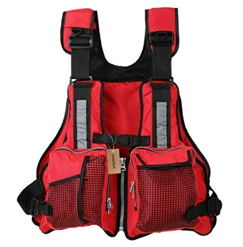 yiguanguan Schwimmweste Rettungswesten für Boote 59 x 50 cm Feststoffweste für Kinder Damen Herren Verstellbare Schwimmwesten Segeln Angeln Kajak Weste (Rot, 59 x 50 cm) -