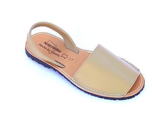 avarca -Abarca Braun Damen Leder eben original Sandalen Strand / Spanien (36)