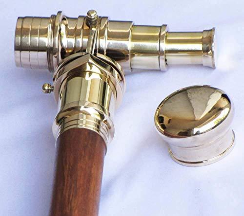 UK Gift Teleskop-Gehstock, zusammenklappbar, mit Messingstab aus indischem Palisanderholz