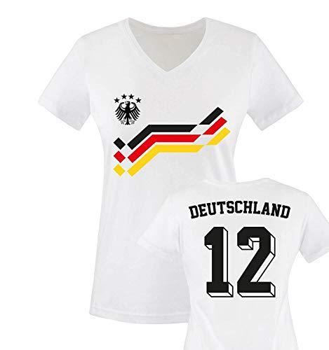 EM 2016 - Retro-Trikot - Deutschland - 12 - Damen V-Neck T-Shirt - Weiss/Schwarz-Rot-Gelb Gr. XL