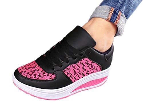 NEWZCERS ragazze delle donne in esecuzione formatori palestra fitness sport scarpe da trekking formatori moda cuneo scarpe sportive da jogging Schwarz rose rot