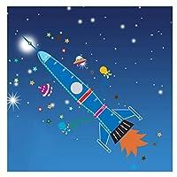 Removable Craft Wall Sticker Kids Bedroom Height Measurement Rocket Star Nursery DIY Growth Chart Cartoon Durable PVCW