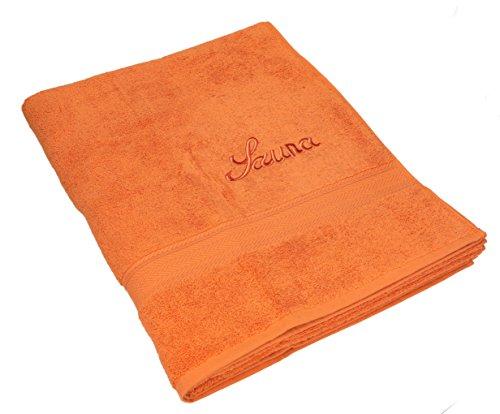 Betz 2 Stück Saunatücher XXL 100% Baumwolle Saunahandtuch Badetuch Duschtuch Handtücher Set FRANCE Farbe Orange terra