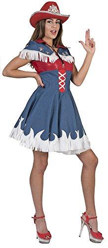 Cowgirl Jeanie Kostüm für Damen - Jeanslook - Gr. 36 38 (Cowgirl Kostüm Für Erwachsene)