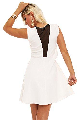 5595 Fashion4Young Damen ärmelloses Minikleid Stretch Kleid dress verfügbar in 3 Farben 2 Größen Weiß