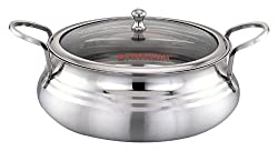 PREMIUM Platina Biryani Pot with Glass Lid, 2 Litre - Stainless Steel