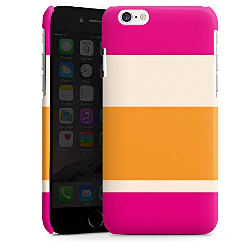 Apple iPhone 6 Housse Étui Silicone Coque Protection Bandes rose orange couleurs Motif Cas Premium brillant