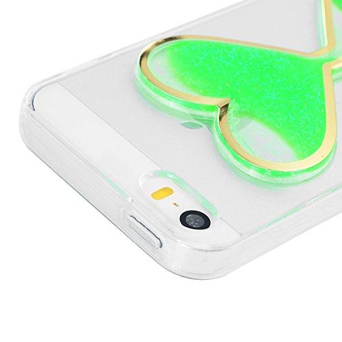Mavis's Diary Coque iPhone 5 / iPhone 5S / iPhone SE Étui Housse de Protection TPU Silicone Coque Liquide Antichoc Ultra Mince Léger Souple Flexible Portable Douce Phone Case Cover + Chiffon - Vert