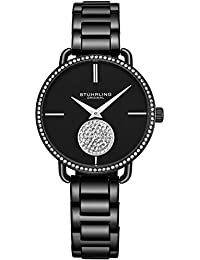 Stuhrling Original Womens Watch Krystal Diamond Analog Watch Dial and Bezel, Stainless Steel Bracelet 3909 Watches for Women Collection (Black)