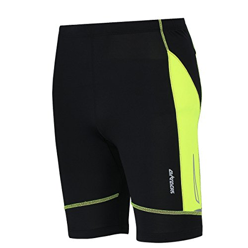 Airtracks FUNKTIONS Laufhose PRO AIR KURZ/Running Hose/Tight/Shorts/Reflektoren - S - schwarz-neon (Neon Running Shorts)