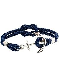 Geralin Gioielli Bracelet femme ancre en argent, bleu marine, unisexe, fabriqué à la main
