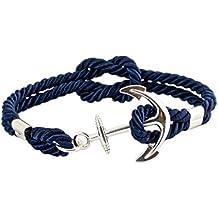 Geralin Gioielli Bracelet femme ancre en argent, bleu marine, unisexe,  fabriqué à la
