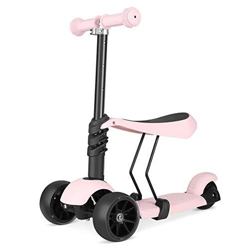 Kids Kick Scooter, Balance Bike Adjustable 3 Wheels Kick Scooter mit Removable & Adjustable Seat, LED Light up Wheels für Boys Girls Alter 2-6 - Ziehen Untere Lagerung