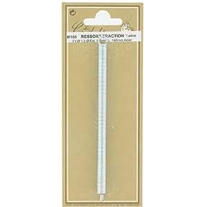 Ressort traction - Longueur 140 mm - Diamètre Fil : 1,2 mm - Extérieur : 8,5 mm - Vendu par 1