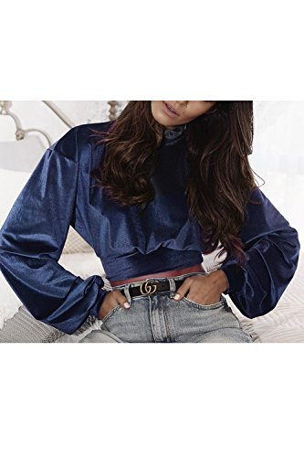 Les Femmes Des Cultures Entonnoir Cou Haut Sweatershirt Velours Bishop Manche Pull blue