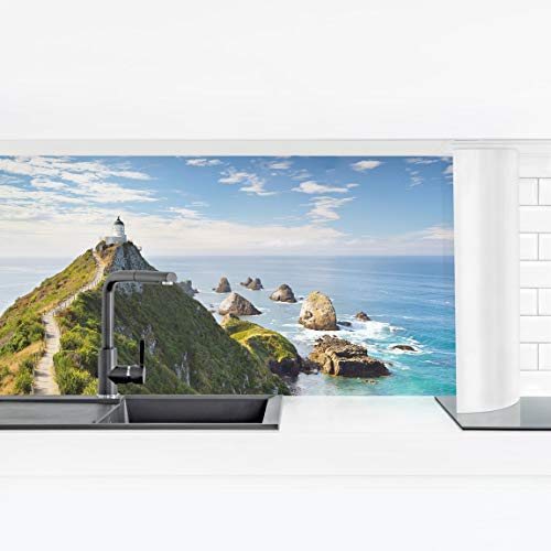 Bilderwelten Küchenrückwand - Nugget Point Leuchtturm und Meer Neuseeland Smart 60 x 210 cm - Meer-glas-fliese