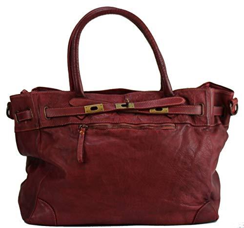 BZNA Bag Mila Weinrot vintage Italy Designer Business Damen Handtasche Ledertasche Schultertasche...