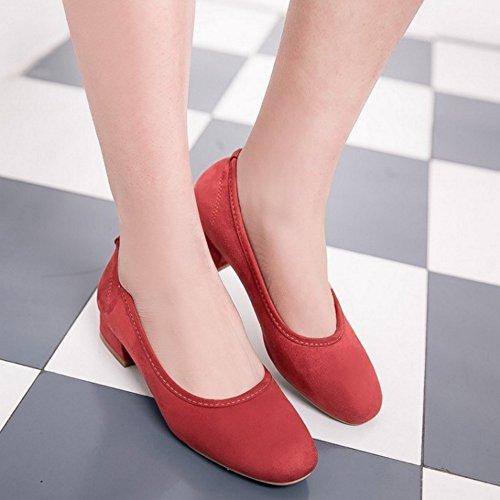TAOFFEN Damen Basic Closed Round Toe Low Heel Pumps Slip On Schuhe Rot
