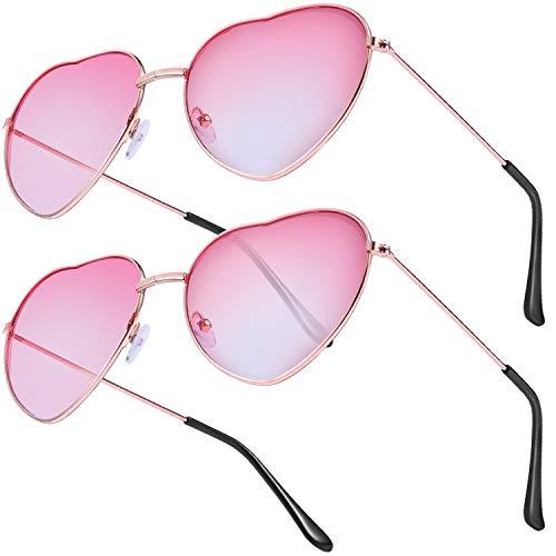 Boao 2 Paare Hippie Stil Herz Sonnenbrille für Hippie Kostüm Zubehör, Rose Gold Rahmen, Gradient Rot Linse