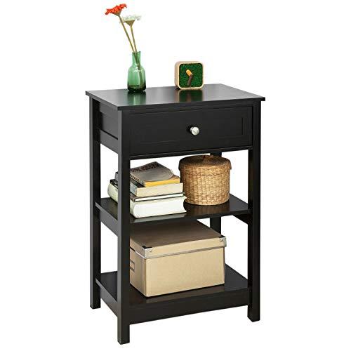 SoBuy® FBT46-SCH Beistelltisch Nachttisch Couchtisch in schwarz mit Einer Schublade und 2 Ablagen BHT ca: 45x68x30cm -