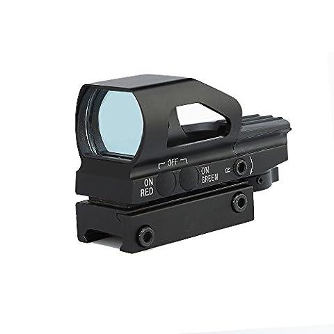 Spike Lunettes de visée Optique Chasse 1x23x34 Rouge et Green Dot Sight Portée avec 20mm de sortie monture Weaver Base Fit 12 ga Shotgun .223 .223