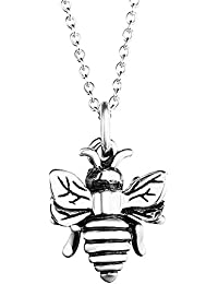 Bee Necklace 925 Sterling Silver Bumble Queen Bee Pendant Necklace Jewellery Gifts for Women Girls MO1vquHF