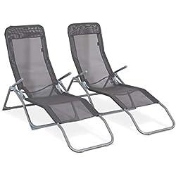 Alice's Garden Lot de 2 Bains de Soleil pliants - Levito Gris Anthracite - Transats textilène 2 Positions, chaises Longues