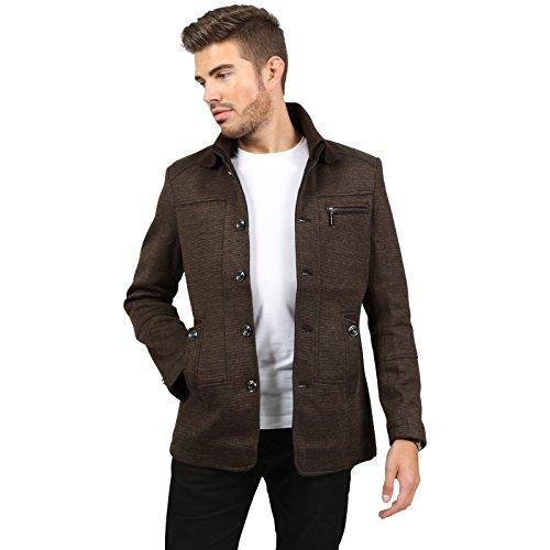Newfacelook uomo vestito di tessuto di rivestimento a maglia invernale collare giacca di tweed