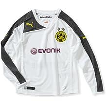 PUMA Trikot BVB Third Shirt Replica, Sponsor Logo - Camisa con mangas largas para niños, Blanco (dark gray heather-dark shadow), ES: 16 años