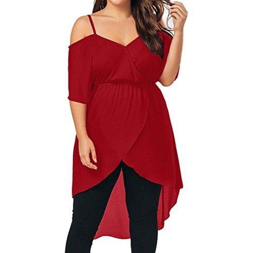 MRULIC Frauen Solide Plus Size Sexy Fit Flare Sommer Lose Chiffon Schulterfrei Kleid(Rot,EU-48/CN-4XL)