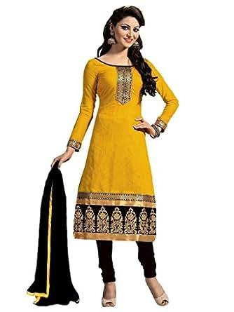 ShreeBalaji Womens Cotton Salwar Unstitched Dress Material (Yellow And Black Mgd9005 _Orange)