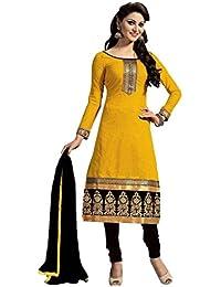 8e9ab27f02 ShreeBalaji Womens Cotton Salwar Unstitched Dress Material (Yellow And Black  Mgd9005 _Orange)