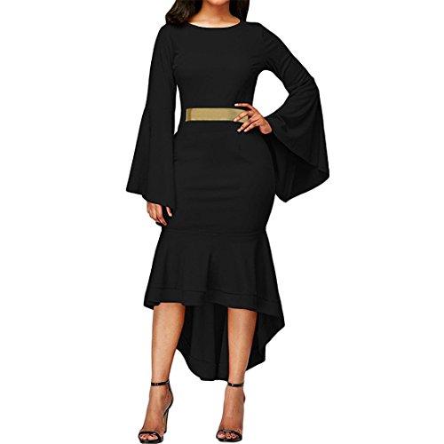 Damen Glockenhülse Trompete Ärmel Unregelmäßige Büro Kleid mit Rücken Reißverschluss Gürtel Abendkleid Kleid für Frauen,FRIENDGG Mädchen Elegante drei Viertel Kleid Mode Party Rock (Schwarz, S) Herren Drei-viertel-länge-mantel